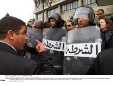 TUNISIA: Protest demonstration in front of Interior Minist.