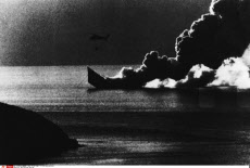 HMS Antelope Burning
