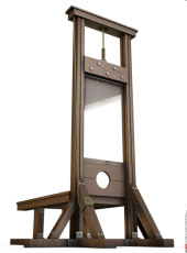An Empty Guillotine rendered from the ground over a white background