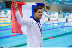 LONDON: Olympic Games, Day 7 Laure Manaudou congratulates her Brother Florent