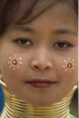 Thailand, Chiang Rai, Long Neck Hilltribes, Young Woman, Face
