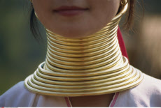 Thailand, Chiang Rai, Long Neck Hilltribes, Young Woman Neck