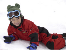 Australia, Victoria, Mt. Buller, Boy in Snow