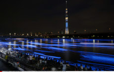 "TOKYO, Japan - Photo shows Tokyo Sky Tree in Tokyo's Taito Ward towering over the Sumida River, with its surface lit up in blue by 100,000 light-emitting diode bulbs, mimicking fireflies, during an event called ""Tokyo Firefly"" on the night of May 25, 2013"
