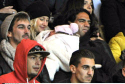 Monaco's Colombian forward Falcao and his family during the French L1 football match Monaco against Rennes in Monaco