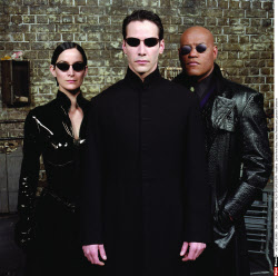 Carrie-Anne Moss, Keanu Reeves and Laurence Fishburne