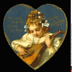 Heart-shaped Valentines card, girl with lute