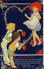 Children and love hearts