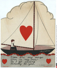 American Valentine\'s Card - Boy sailing a yacht of love