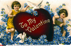 Valentines card with two cherubs and a large heart