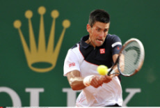 Novak Djokovic against Guillermo Garcia Lopez during the Monte Carlo Rolex Masters 2014 tournament in Roquebrune Cap Martin France