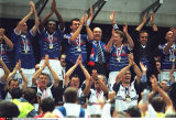 WORLD CUP: FINAL BETWEEN FRANCE & BRAZIL  FRENCH TEAM WINS: WITH PRESIDENT CHIRAC