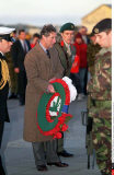 FALKLANDS ISLAND: PRINCE CHARLES AT WREATHLAYING CEREMONY AT 1982 MEMORIAL VICTIMS