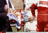 MICHAEL SCHUMACHER IS TRANSFERED FROM HELICOPTER TO AMBULANCE AT CLIFTONVILLE MIDDLE