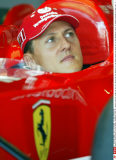German Ferrari driver Michael Schumacher looks at a monitor from the cockpit of his car, during the free practice for the German Formula One Grand Prix at the Hockenheim circuit in southern Germany on Friday, Aug. 1, 2003.  (AP Photo/Uwe Lein)/SIPA