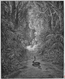 Satan As A Serpent Enters Paradise In Search Of Eve by Dore