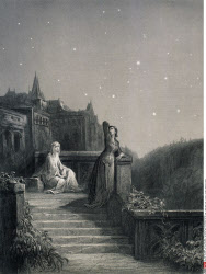 Terrace scene with Guinevere, by Gustave Dore, from Idylls of the King, (1832-1883), USA, Illinois, Chicago, Newberry Library