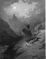 King Arthur discovering skeletons of the brothers, by Gustave Dore, from Idylls of the King, (1832-1883)