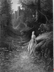 Elaine on road to Cave of Lancelot, by Gustave Dore, from Idylls of the King, (1832-1883), USA, Illinois, Chicago, Newberry Library