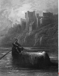 Body of Elaine on its way to King Arthur's Palace, by Gustave Dore, from Idylls of the King, (1832-1883), USA, Illinois, Chicago, Newberry Library