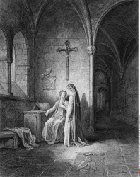 Cloister scene with Guinevere, by Gustave Dore, from Idylls of the King, (1832-1883), USA, Illinois, Chicago, Newberry Library