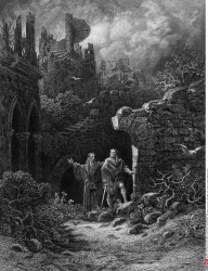Yniol showing Prince Geraint ruined castle, by Gustave Dore, from Idylls of the King, (1832-1883), USA, Illinois, Chicago, Newberry Library