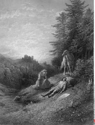 Enid tends Geraint, by Gustave Dore, from Idylls of the King, (1832-1883), USA, Illinois, Chicago, Newberry Library