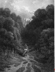 Lancelot approaching Castle of Astolat, by Gustave Dore, from Idylls of the King, (1832-1883), USA, Illinois, Chicago, Newberry Library