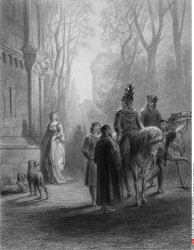 Lancelot Bids Adieu to Elaine, by Gustave Dore, from Idylls of the King, (1832-1883), USA, Illinois, Chicago, Newberry Library