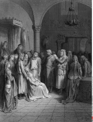 King Arthur reading the letter to Elaine, by Gustave Dore, from Idylls of the King, (1832-1883), USA, Illinois, Chicago, Newberry Library