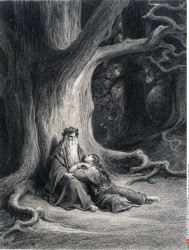 Merlin and Vivien in Repose, by Gustave Dore, from Idylls of the King, (1832-1883), USA, Illinois, Chicago, Newberry Library