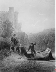 Torre and Lavaine bid farewell to body of Elaine, by Gustave Dore, from Idylls of the King, (1832-1883), USA, Illinois, Chicago, Newberry Library