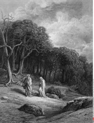 Vivien and Merlin enter the woods, by Gustave Dore, from Idylls of the King, (1832-1883), USA, Illinois, Chicago, Newberry Library