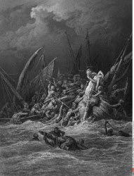 The Sea Fight, by Gustave Dore, from Idylls of the King, (1832-1883), USA, Illinois, Chicago, Newberry Library