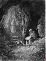 Cave Scene, by Gustave Dore, from Idylls of the King, (1832-1883), USA, Illinois, Chicago, Newberry Library