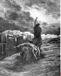 Ephraim Carries His Wife Away, Gustave Dore (1832-1883 French), engraving, (1832-1883)