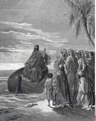 Jesus Preaching in Ship by Gustave Dore, illustration, (1832-1883)