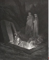 Engraving by Gustave Dore 1832 1883 French artist and illustrator for Inferno by Dante Alighieri Canto X lines 40 to 42