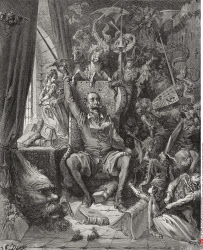 Engraving by Gustave Dore 1832 1883 French artist and illustrator of Don Quixote amongst his books in his library from Don Quixote by Miguel de Cervantes Saavedra