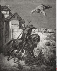 Engraving by Gustave Dore 1832 1883 French artist and illustrator of Sancho Panza being tossed in a blanket from Don Quixote by Miguel de Cervantes Saavedra Part I chapter 16
