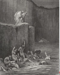 Illustration for Inferno by Dante Alighieri Canto XVIII lines 116 and 117 by Gustave Dore 1832 1883 French artist and illustrator