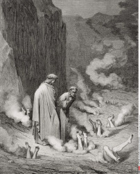 Engraving by Gustave Dore 1832 1883 French artist and illustrator for Inferno by Dante Alighieri Canto XIX lines 10 and 11