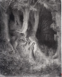 Engraving by Gustave Dore 1832 1883 French artist and illustrator for Inferno by Dante Alighieri Canto I lines 1 and 2
