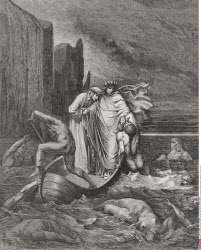 Engraving by Gustave Dore 1832 1883 French artist and illustrator for Inferno by Dante Alighieri Canto VIII lines 39 tp 41
