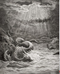 Illustration by Gustave Dore 1832 1883 French artist and illustrator for Paradise Lost by John Milton Book VII lines 387 to 389