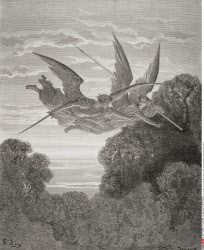 Illustration by Gustave Dore 1832 1883 French artist and illustrator for Paradise Lost by John Milton Book IV lines 798 and 799 Guardian angels Zephon and Ithuriel