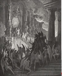 Illustration by Gustave Dore 1832 1883 French artist and illustrator for Paradise Lost by John Milton Book II lines 1 and 2