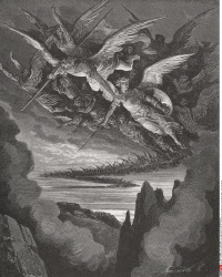 Illustration by Gustave Dore 1832 1883 French artist and illustrator for Paradise Lost by John Milton Book I lines 344 and 345
