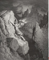 Illustration by Gustave Dore 1832 1883 French artist and illustrator for Paradise Lost by John Milton Book II lines 949 and 950
