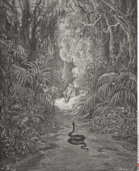 Illustration by Gustave Dore 1832 1883 French artist and illustrator for Paradise Lost by John Milton Book IX lines 434 and 435